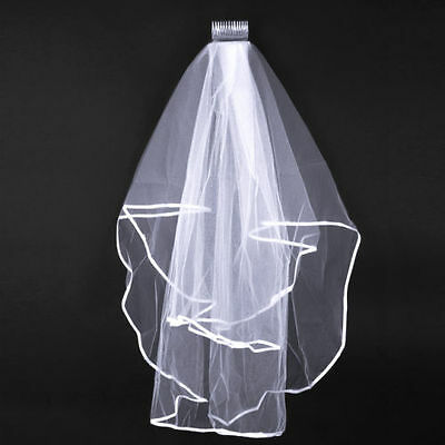 White Veil Satin Edge for wedding bridal brides maid with comb Elbow 2T