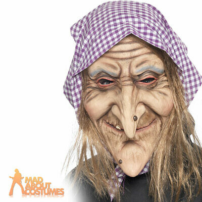 Adult Old Witch Mask Latex Creepy Halloween Fairytale Fancy Dress Accessory New