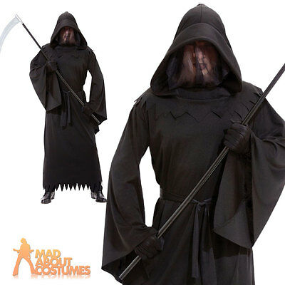 Adult Grim Reaper Phantom of Darkness Costume Mens Halloween Horror Robe Outfit