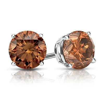3 Ct Round Brown Earrings Studs Solid 14K White Gold Screw Back Basket