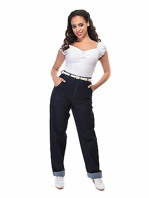 NEW Collectif Siobhan High Waisted 40s 50s Rockabilly Jeans Vintage Blue VLV