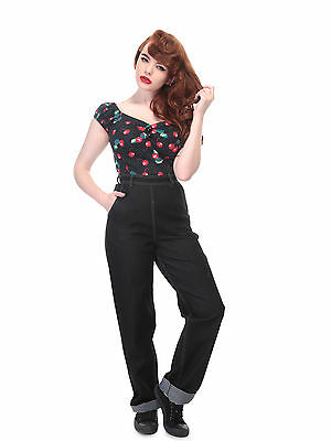Collectif Siobhan High Waisted 40s 50s Rockabilly Vintage Jeans Black VLV