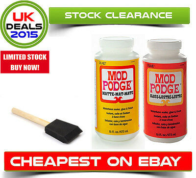 Mod Podge 16oz Matte Gloss Decoupage Adhesive Sealer Varnish Water Based Brush
