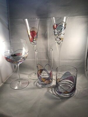 Assortment of Romanian Stimas GMG MILANO Mosaic Hand blown Stemware and Glasses