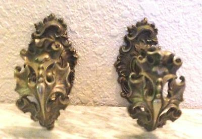 Two Antique Ornate Brass French Rococo Curtain Tie Back Hook Bracket Holders
