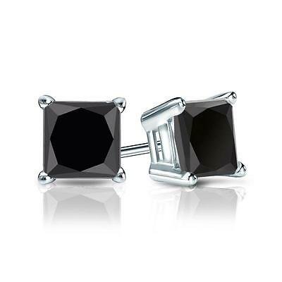 4 Ct Black Princess Cut Earrings Studs Screw Back Basket Solid 14K White Gold