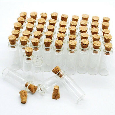 10x Mini Glass Bottle 12ml Empty Tiny Small Clear Cork Container Bottle 98007001
