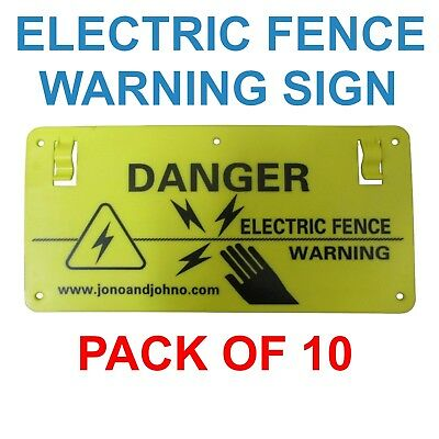 10x Electric Fence Warning Safety Sign Danger Farm Energizer Fencing