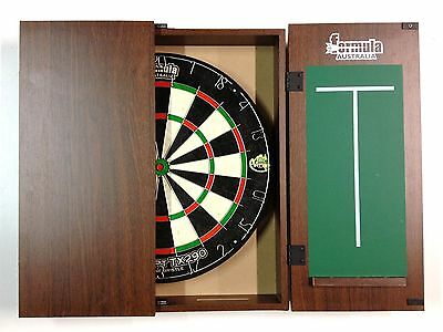 Dart Board Set Walnut Dart Board Cabinet AND TX290 Dart Board AND 6 x Darts.