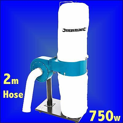 Silverline 1HP Single Bag Dust Extractor wood chippings chip collector sawdust