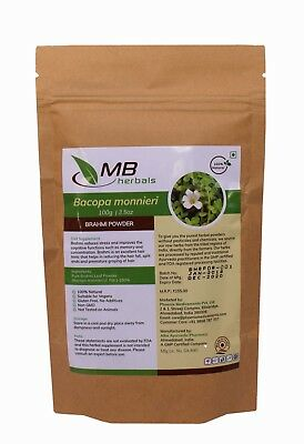 MB Herbals Brahmi Powder - Pure Wild crafted Bacopa monnieri - 100g to 1kg
