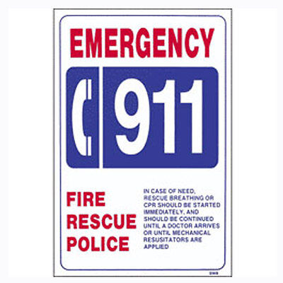 """Swimming Pool Sign 12"""" X 18"""" Number 911 Emergency"""