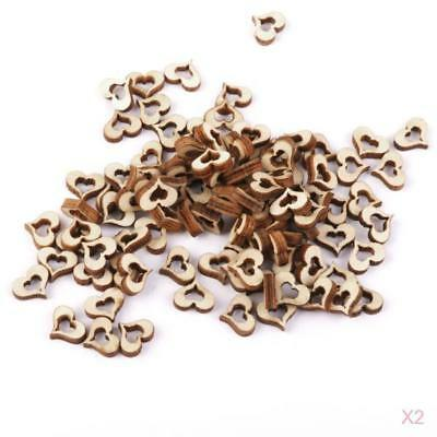 200Pcs Wooden Hearts Wedding Party Cardmaking Scrapbooking Embellishments 10mm