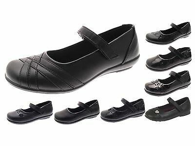 Girls Black School Shoes Faux Leather Mary Jane Ballet Shoes Kids Size UK 6 - 2