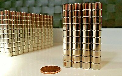 """10 Large Neodymium Cylinder Disc Magnets. Super strong N52 Rare Earth 3/8 × 1/4"""""""