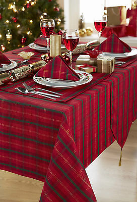 Tartan Red/Gold Christmas Tablecloth Range-Items Sold Separately - FREE DELIVERY