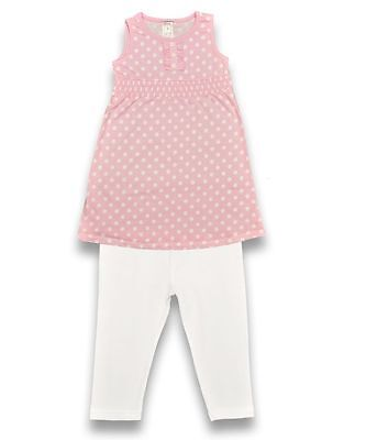 Girls Pink Spot Top & Legging Outfit 2 piece set holiday party 18m 6 years