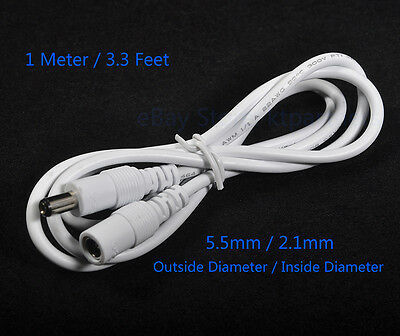 1M 3ft Power Adapter Extension Cable DC 12V 5.5mm*2.1mm Power Cord 4 CCTV Camera