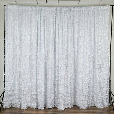 WHITE 20x10 ft SATIN RUFFLE BACKDROP Stage Party Wedding Catering Booth SALE