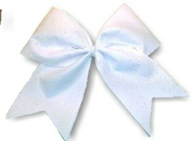 White sparkly Team tryout cheer hair bow
