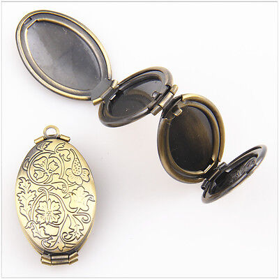1Pcs Antique Bronze Plated oval 4 Photo Lockets Pendant