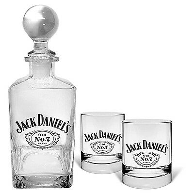 Jack Daniels Glass Decanter & Set of 2 Spirit Glasses Man Cave Bar Fathers Gift