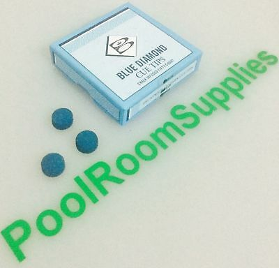 REAL Pool Snooker Billiard Cue Tips Glue on BOX 50 x 11mm Brunswick Blue Diamond