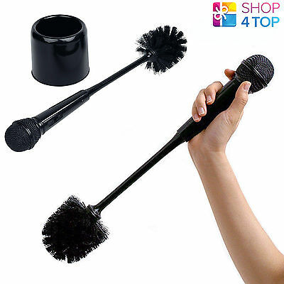 Microphone Mic Toilet Wc Brush With Holster Black Funny Novelty Original Gifts
