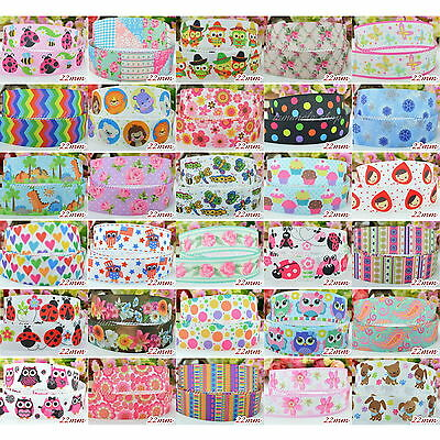 "2 Yds Grosgrain Cartoon Owl Polka Dot Printed Pattern 7/8"" 22mm Ribbon Craft"