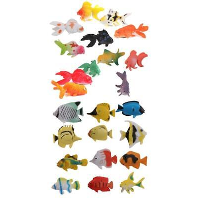 24 Plastic Tropical Angel Fish/Goldfish Ocean Animals Small Figure Kid Party Toy