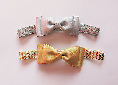 Baby Girl Silver Gold Purl Christening Headbands Hair Band - Customised fitting