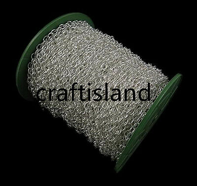 Wholesale 50 meters 7x5mm silver finish oval chain in roll-9740