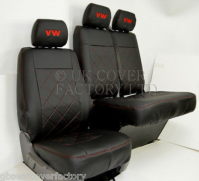 Vw Crafter Van Seat Covers Black Bentley Stitch Pvc Leather X150Ar