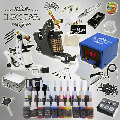 Complete Tattoo Kit Professional Inkstar 2 Machine JOURNEYMAN CASE GUN 20 Inks