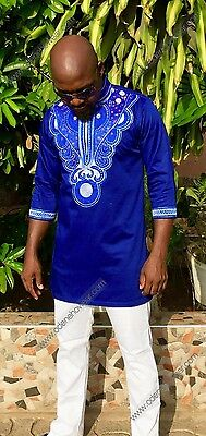 Odeneho Wear Men L Polished Cotton Shirt With Embroidery. African Clothing