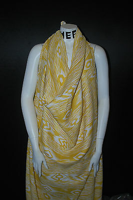European Linen 100% Natural Fiber Beautifull Ethnic Print 5oz  Mustard Off White