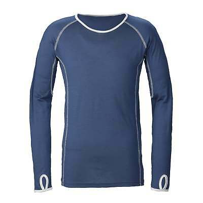 Kathmandu Turnstone Kids Long Sleeve Crew Neck Merino Wool Shirt Top Blue