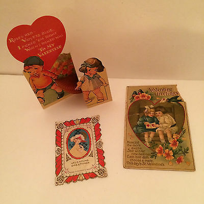 Three Vintage Valentines - Unused 1950s Fold-Out & Two Older Victorians Used