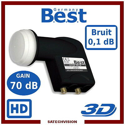 LNB Twin Best Germany HG202 0,1 dB Gain 70 dB Tête 2 Sorties Full HD 3D UHD 4K