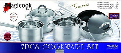 7 Pc Magicook Casserole Stainless Steel Induction Pan Set High Quality Cookware