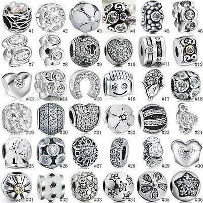 White Crystal European Spacer Beads Charms For Sterling Silver 925 Bracelets