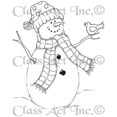 Class Act Cling Mounted Rubber Stamp 7cm x 9.5cm -Bird Snowman. Shipping Include