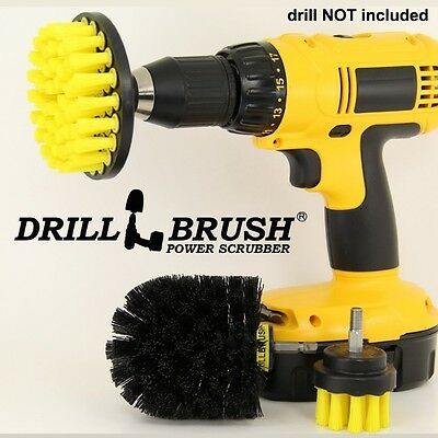 Rotary Drill Cleaning Brush for Tile, Grout, Shower, Tub, Sink-3 Piece Kit. Huge