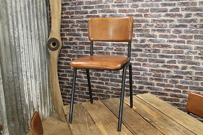 Vintage Industrial Style Leather And Metal Stacking Chairs Chelmsford