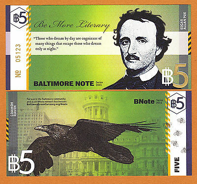 USA 2011 Local Currency BALTIMORE NOTE Five ($5) Edgar Allan Poe UNC