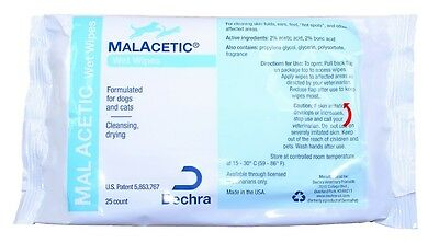 MalAcetic Wet Wipes /Dry Bath (25 count)