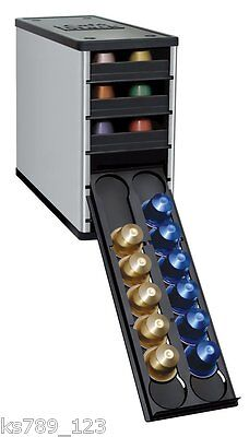 Capstore Nespresso Coffee Capsule Pod Holder Tower Stack BNIB Titanium