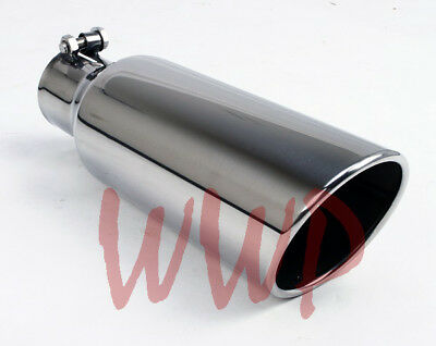 "Stainless Steel Polished Angle Cut Roll Exhaust Tip 4""Inlet 5""Outlet 12"" Length"
