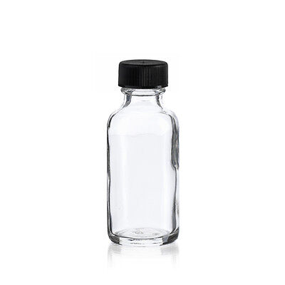 72 pcs 1 oz 30ml CLEAR Boston Round Glass Vials W/Caps
