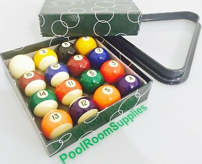 """BRAND NEW 2 & 1/16"""" Inch Pool Billiards Balls Box Set of 16 + Triangle included"""